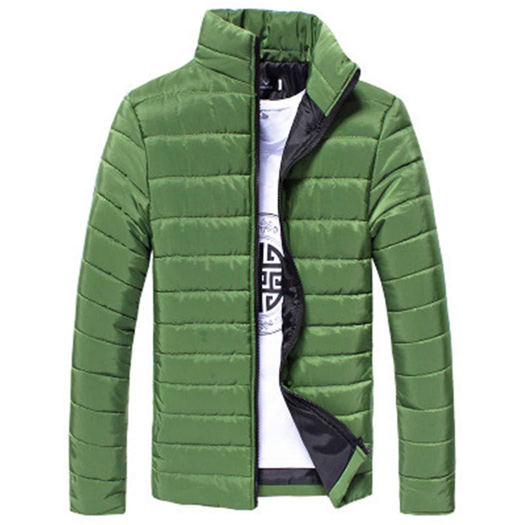 TIFENNY Winter Men's Cotton Zipper Warm Thick Coat Long Sleeve Stand Neck Slim Jacket Tops