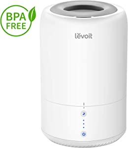 LEVOIT Humidifiers for Bedroom, Top Fill Cool Mist Ultrasonic Humidifier Essential Oil Diffuser for Babies Room, Smart Sleep Mode, Long Lasting, Whisper Quiet Operation, Auto Shut Off(1.8L/0.48Gal)