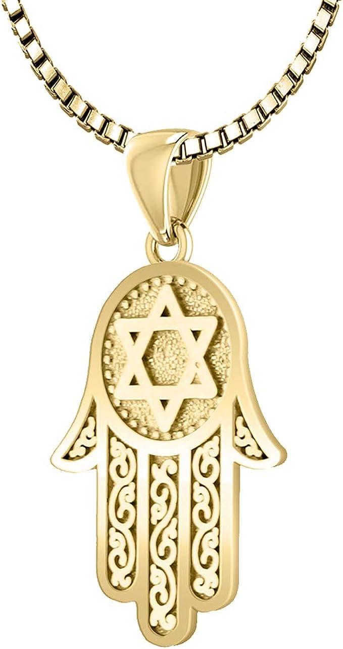 Mother\u2019s Day Gift Hand of God Pendant Birthday Gift Solid Gold Hand Bracelet Religious Jewerly Amulet Protection 10K Hamsa Bracelet