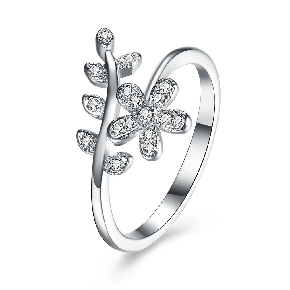 YAZILIND Delicate Jewelry 925 Sterling Silver Ring Flower Leaves Inlaid with Cubic Zirconia Wedding Engagement Gift for Women Girls YAZILIND JEWELRY LTD ZH1657R0017-6