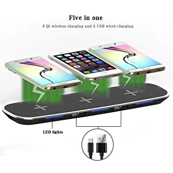 Kobwa Qi Cargador inalámbrico, triple inalámbrico carga Soporte con 2 puertos USB para Apple iPhone 8/8 Plus, iPhone X, Samsung Galaxy Note 8 S8 S8 ...