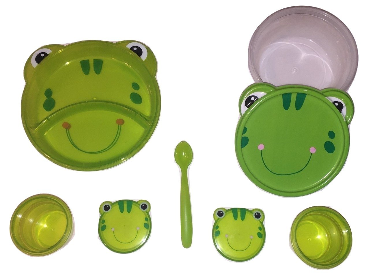 Animal Friends Frog 3 Piece Plastic Dining Set ~ Divided Plates, Snack Containers with Spoons, Travel Bowl with Lid by Greenbrier   B00CVDRHNW