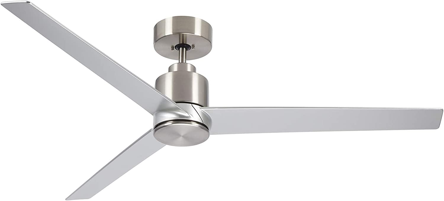Kathy Ireland Home Arlo Ceiling Fan with Remote Control, 54 Inch| Indoor/Outdoor Metal Fixture with Weather-Resistant Blades | Light Kit Adaptable, Brushed Steel