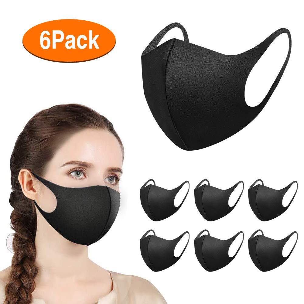 Máscaras Bucales Unisex de 6 Piezas, Zorar Máscaras de Boca Máscaras Faciales Antipolvo Ajustables, Mascarilla Reutilizable y Lavable (Negro)
