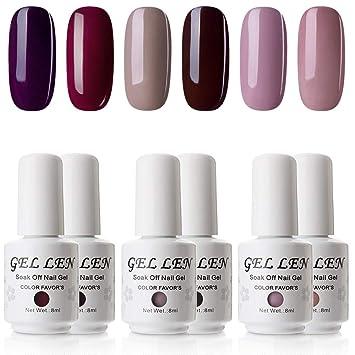Amazon.com: Gellen - Esmalte de uñas de gel UV, 6 colores ...