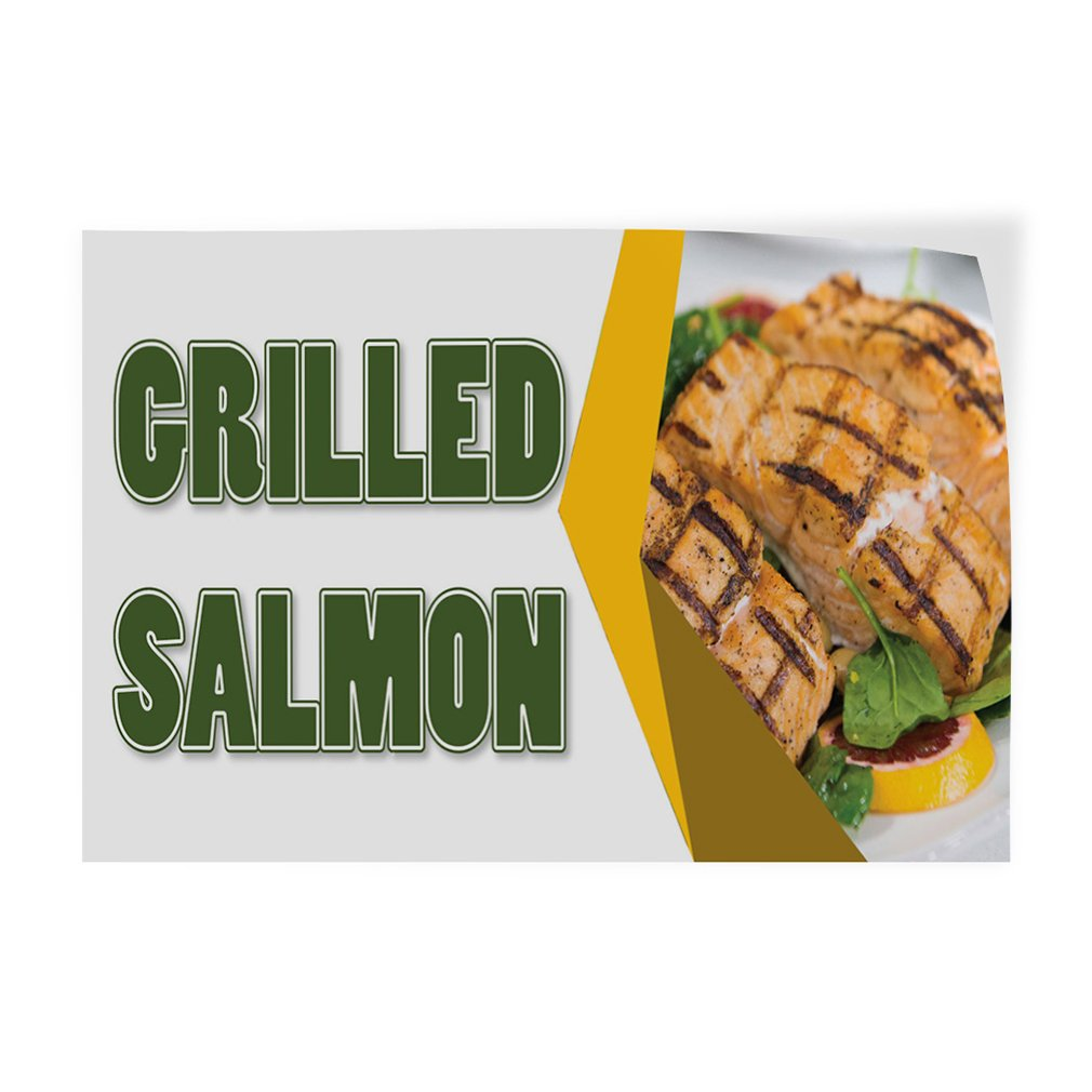 Decal Sticker Multiple Sizes Grilled Salmon Restaurant & Food Grilled Salmon Outdoor Store Sign White - 7inx5in, Set of 10 by Sign Destination