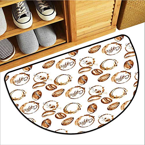 TableCovers&Home Entrance Door Mat, Coffee Indoor Doormats for Bedroom, Conceptual Watercolor Art with Beans and Spilled Java Drops Circular Stains (Pale Brown White, H20 x D32 Semicircle)