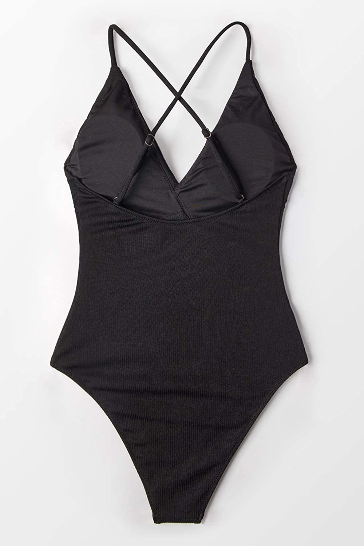 CUPSHE Solid One-Piece Swimsuit Beach Swimwear Bathing Suit