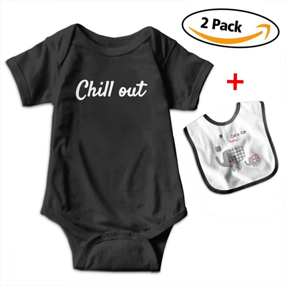 KAYERDELLE Chill Out Newborn Babys Boys /& Girls Short Sleeve Romper Bodysuit Outfits for 3-24 Months and Baby Bib