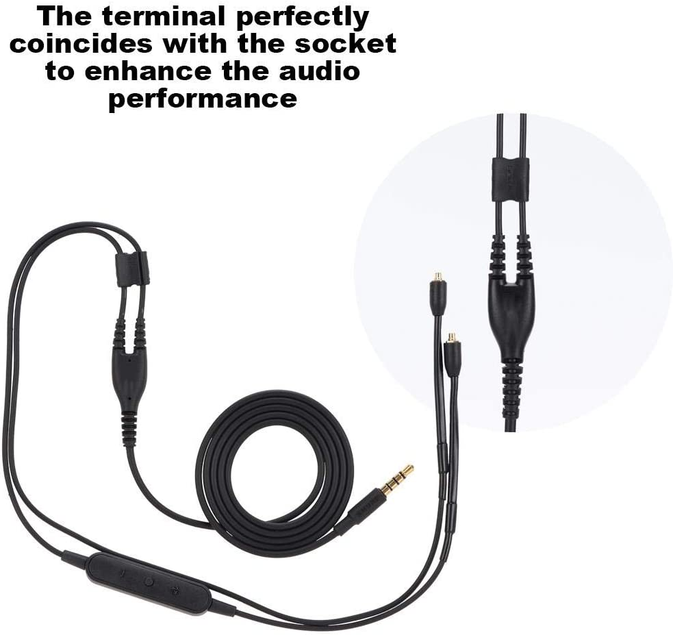 TPE Headphone Extension Cable with 3.5mm Plug for Shure se215 se425 se535 se846 ue900 Tangxi MMCX Replacement Headphone Cable Black without mic