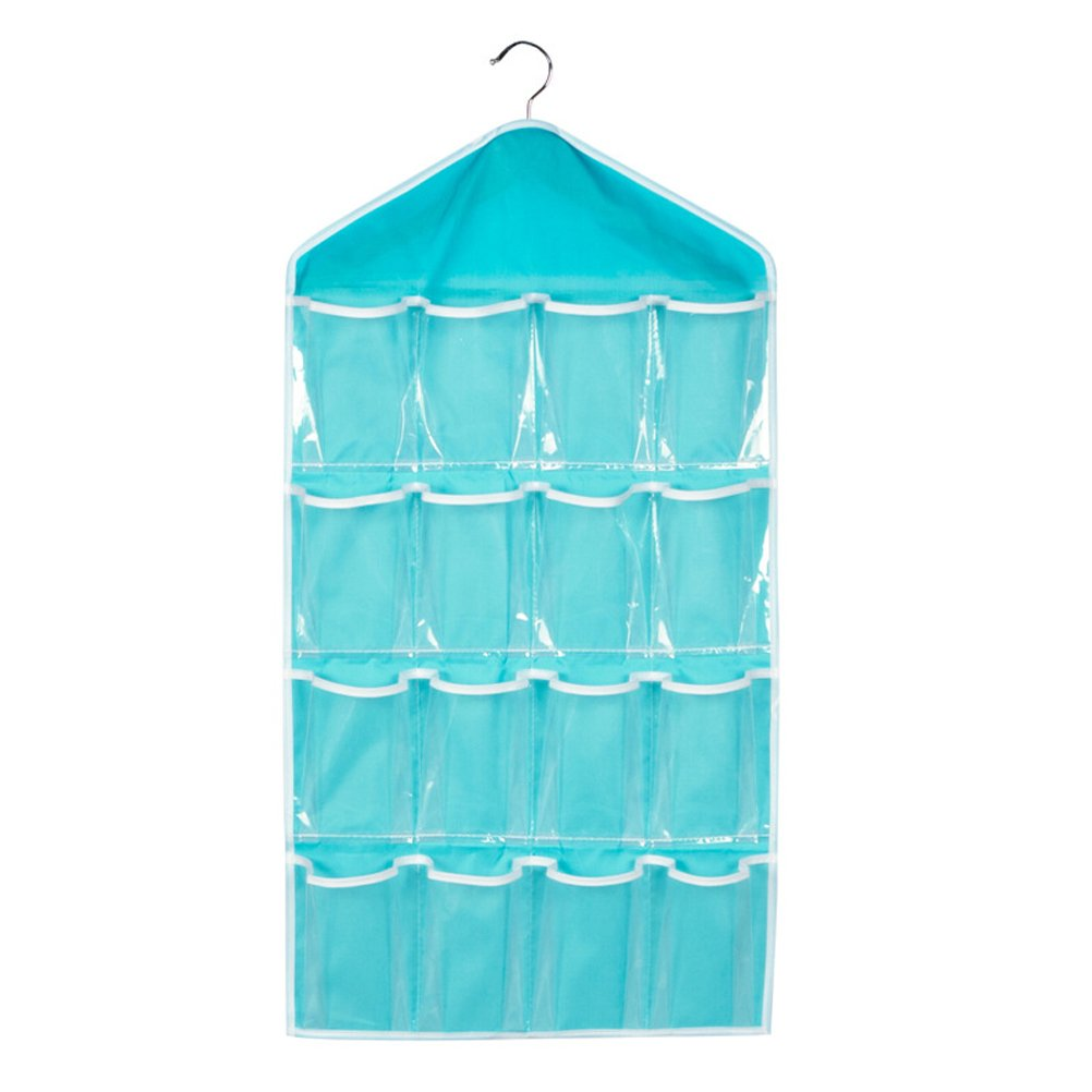 OUNONA 16 Pockets Over Door Hanging Storage Bag,Wall Door Hanger Closet Underwear/Socks/Bra Storage Organizer Sundries Holder(Blue)
