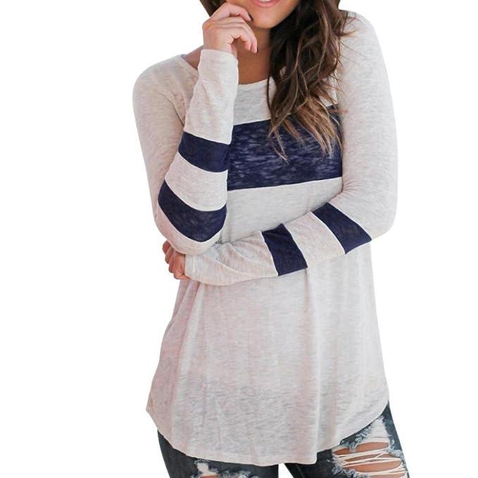 Logobeing camiseta Moda mujer mujeres manga larga empalme blusa Tops ropa camiseta (S, Azul