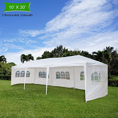 Crazyworld 10' x 30' Outdoor Canopy Wedding Party Tent with 5 Removable Sidewalls and Zippered Door,Upgraded Thicken Tube Sun Shelter SHED Gazebo Pavilion Garden Pool EVENT