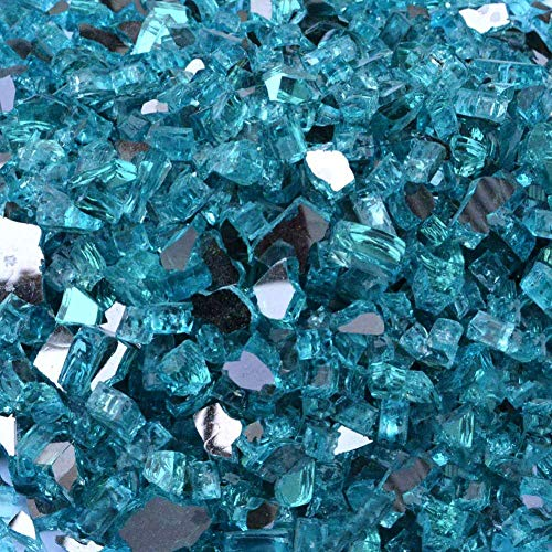 Stanbroil 10-Pound 1/4 inch Fire Glass for Fireplace Fire Pit, Caribbean Blue Reflective