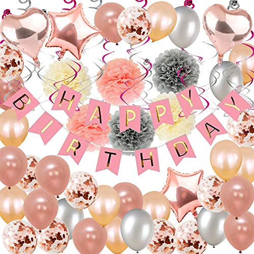 Birthday Decorations, Puchod Happy Birthday Party Decoration Kit Rose Gold Confetti Balloons 71pcs Swirl Champagne Decorations with Paper Pom Pom 13th 16th 18th 21st 30th 40th 50th 60th 70th Party Sup
