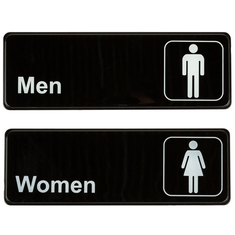 """Men"" & ""Women"" Restrooms Compliance Signs Set, Toilet Door Plate for Business Restaurant, 3"" x 9"""