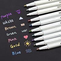 INIBUD Metallic Marker Pens, Satz von 10 Farben für Kartenherstellung DIY Fotoalbum Gebrauch auf irgendeiner Oberfläche-Papier Glas Kunststoff Keramik