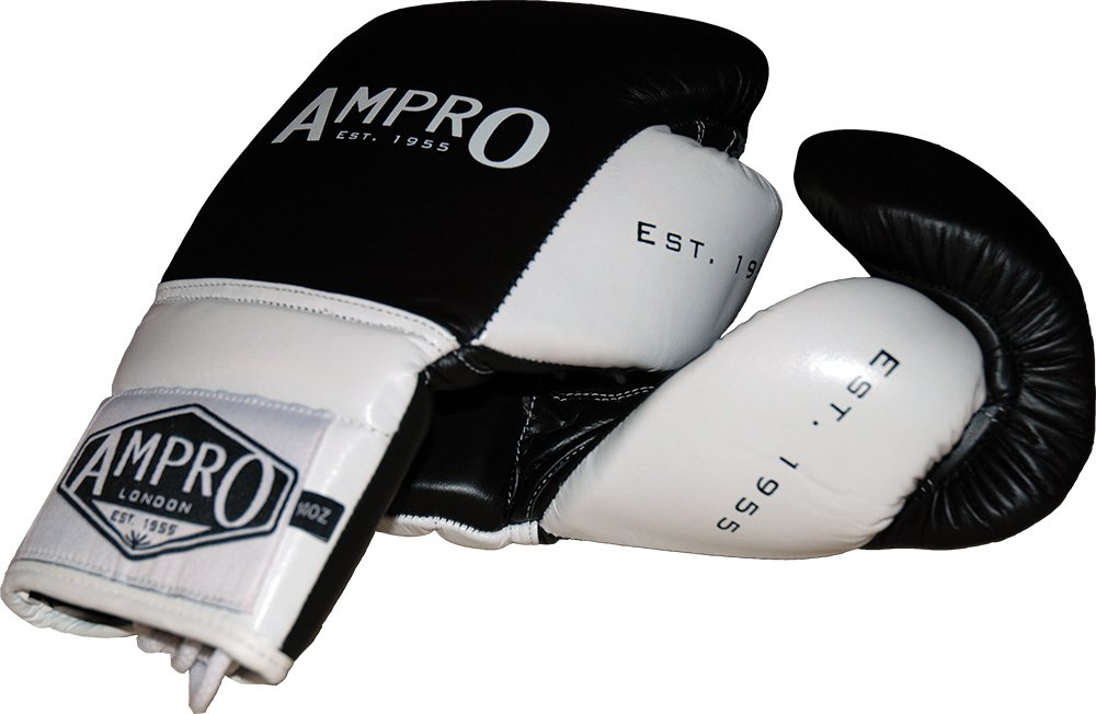 Ampro Madison MKII Lace Up Sparring Gloves Black//White