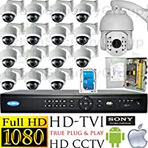 USG PTZ Business Grade 1080p 2MP HD-TVI 16 Camera CCTV Kit * 15x Motorized Lens 2.8-12mm Dome Camera + 1x 5-50mm PTZ Camera + 1x 16 Channel DVR + 1x 4TB HD + 1x 18 Ch Power Supply Box * Apple Android