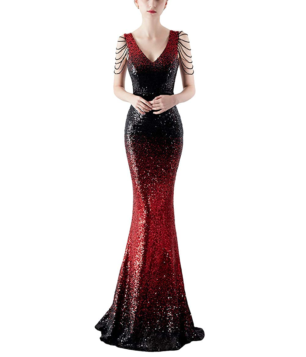 16180blackred Chowsir Women Sexy Elegant Slim Sequin Cocktail Party Evening Long Dress