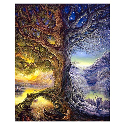 UUJULY 5D DIY Diamond Painting Kits Full Drill Circular Drill-Colorful Tree for Home Wall Decor 12.6 x 15.7 Inches, Colorful Tree