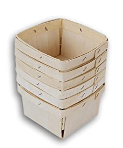 Jumping Daisy Pint Square Vented Wooden Berry Baskets (Top Edge - 4 Inches Square) - Set of 6 Small Produce Baskets