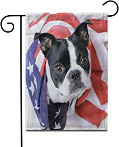 """Awowee 12""""x18"""" Garden Flag Dog Memorial Day Boston Terrier 4Th July Patriotic Puppy Outdoor Home Decor Double Sided Yard Flags Banner for Patio Lawn"""