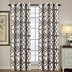 H.VERSAILTEX Thermal Insulated Blackout Grommet Curtain Drapes for Living Room-52 inch Width by 84 inch Length-Set of 2 Panels-Taupe and Brown Geo Pattern