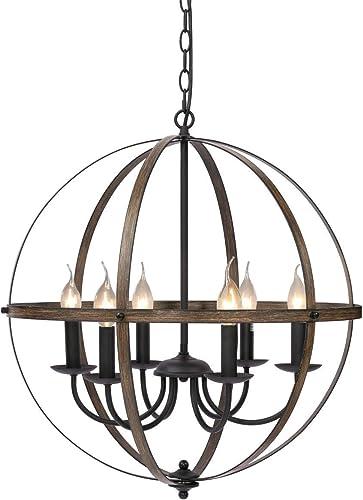 KingSo Pendant Light 6 Light Rustic Metal Chandelier 23.62'' Oil Rubbed Bronze Finish Wood Texture Industrial Ceiling Hanging Light Fixture