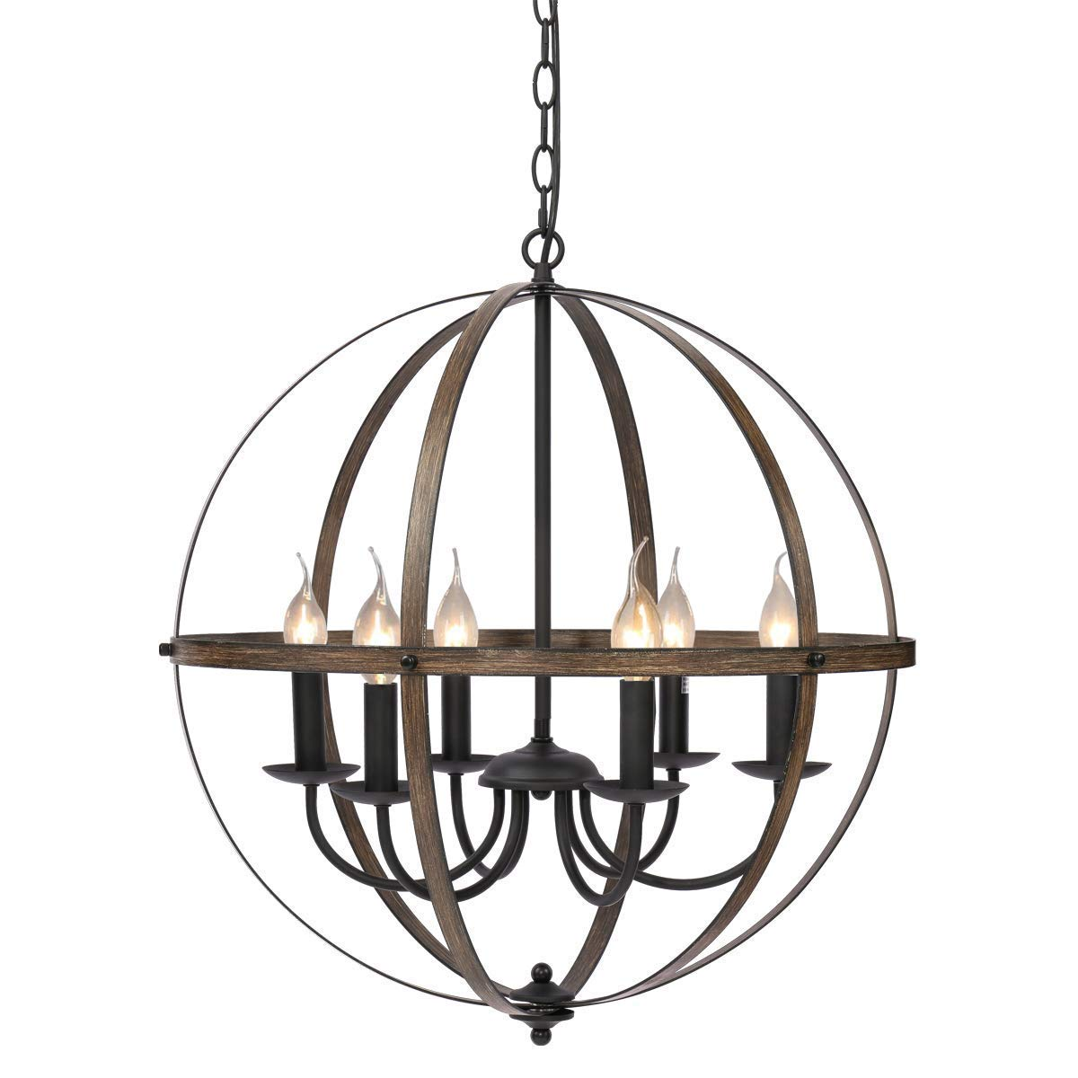 KingSo 6 Light Chandelier 23.62'' Rustic Metal Pendant Light Oil Rubbed Bronze Finish Wood Texture Industrial Ceiling Hanging Light Fixture for Indoor Kitchen Island Dining Living Room Farmhouse by KingSo