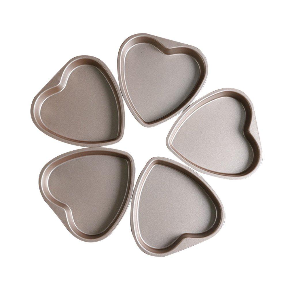 Bakerdream 5 Piece 6 inch Heart Shaped Cake Pan Set Muffin Chocolate Mold Non-Stick Heart Baking Pans (Loving Heart)