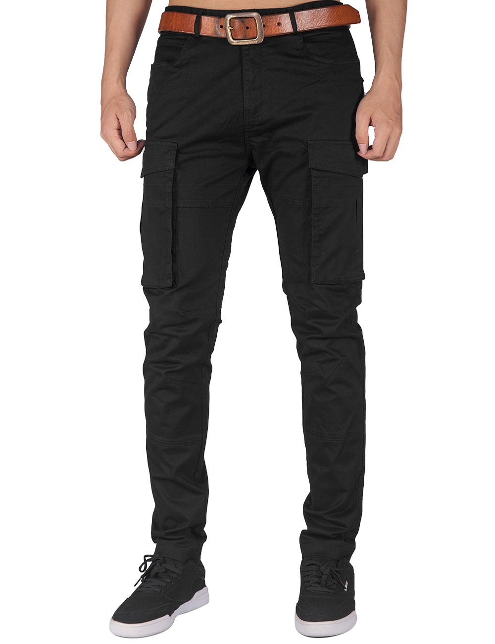 ITALY MORN Men Chino Cargo Jogger Pants Casual Twill Khakis Slim fit Black (S, Black) by ITALY MORN (Image #1)