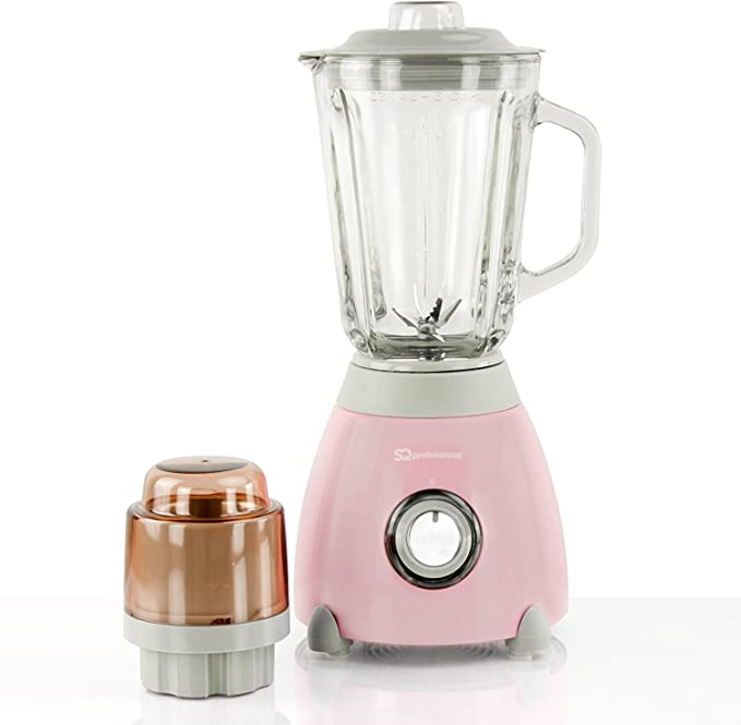 Batidora de vaso 500W, jarra y molinillo de medición de vidrio de 1.5L - Rosado: Amazon.es: Hogar