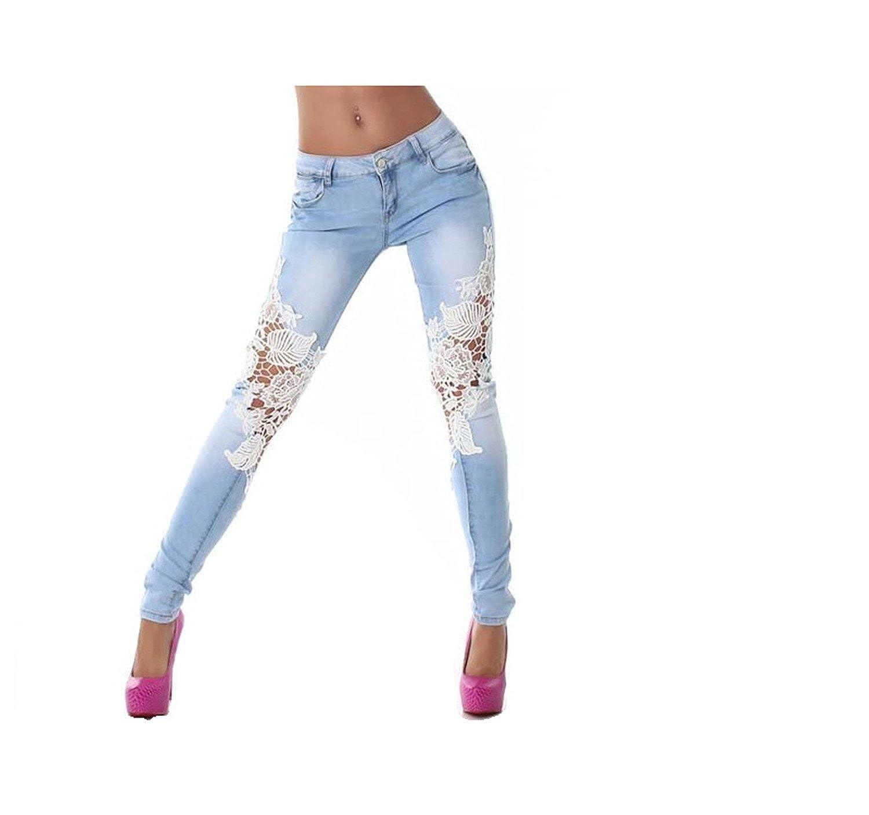 Zhen yi Women Autumn Winter Lace Elastic Wash Denim Slim Pencil Feet Jeans