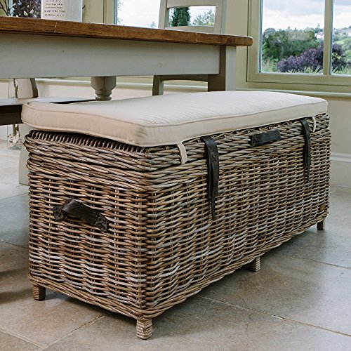 Rustic Rattan Dining Bench | Wicker Basket Blanket Box | Rattan Wood Ottoman with Interior Storage Space