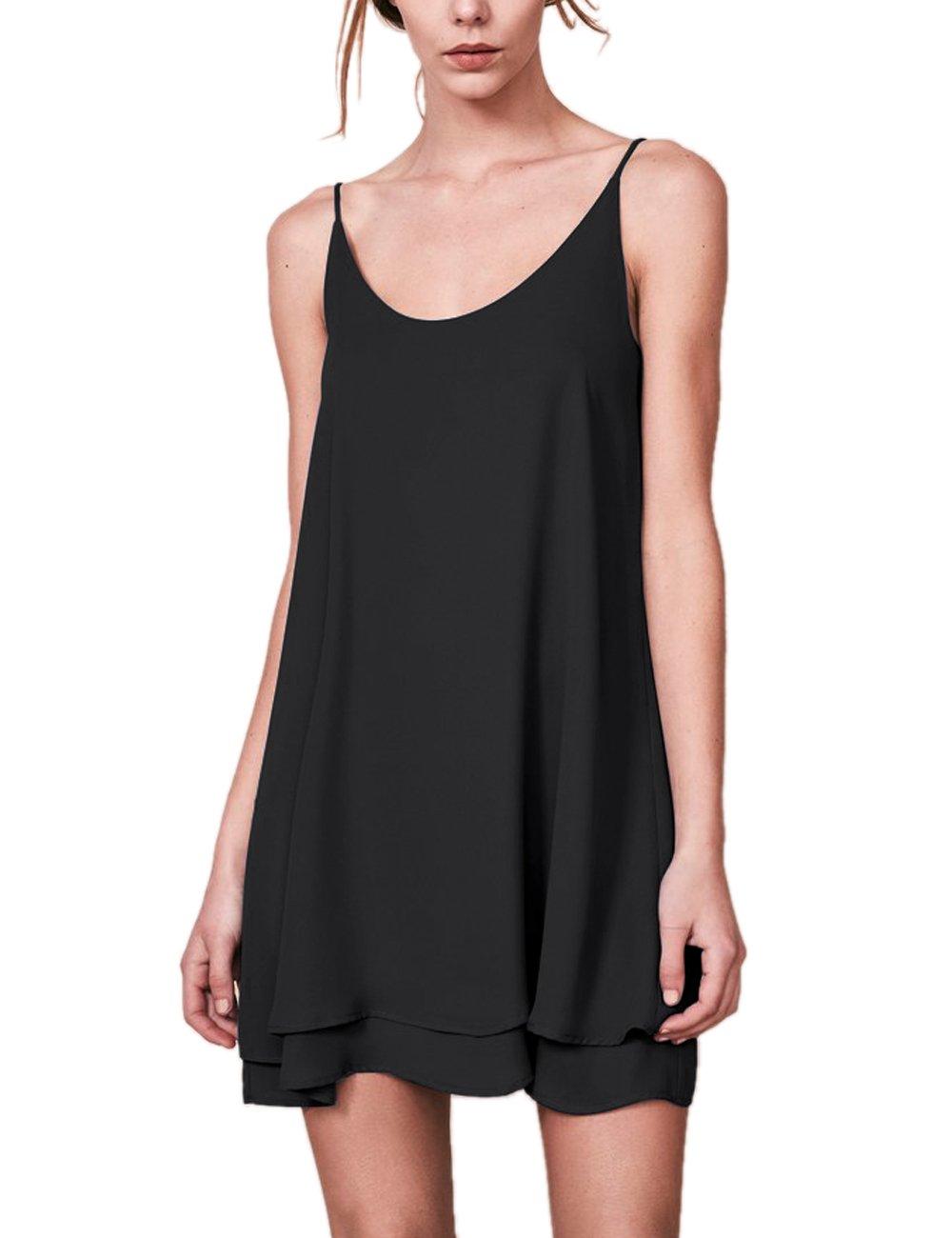 Dohia Women's Summer Sleeveless Chiffon Tank Top Dress Casual Spaghetti Strap Beach Swing Dresses Sundress C1811 (L, Black)
