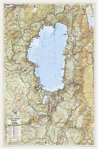 National Geographic: Lake Tahoe Basin Wall Map (26.5 x 40.5 inches) (National Geographic Reference Map)