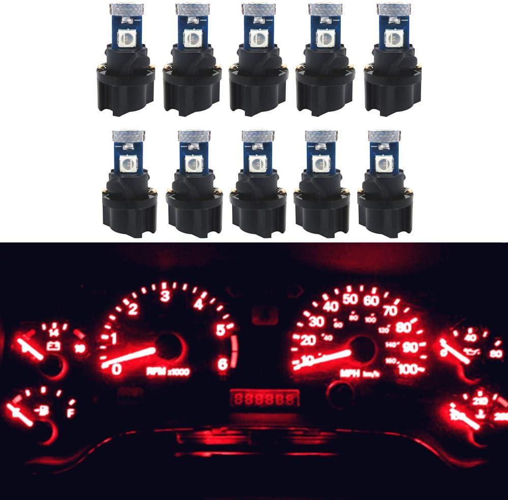 Red WLJH 6pcs Canbus Error Free T5 74 37 27 17 3-3030SMD LED Gauge Cluster Dashboard Instrument Panel Light Lamps Bulb w//Twist Lock Socket