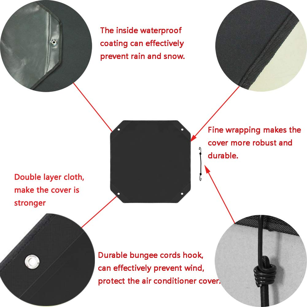 Conditioner Winter Waterproof Top Air Conditioner Leaf Guard Air Conditioner Cover YELAIYEHAO AC Unit Cover Black, 28x28 SIHAN