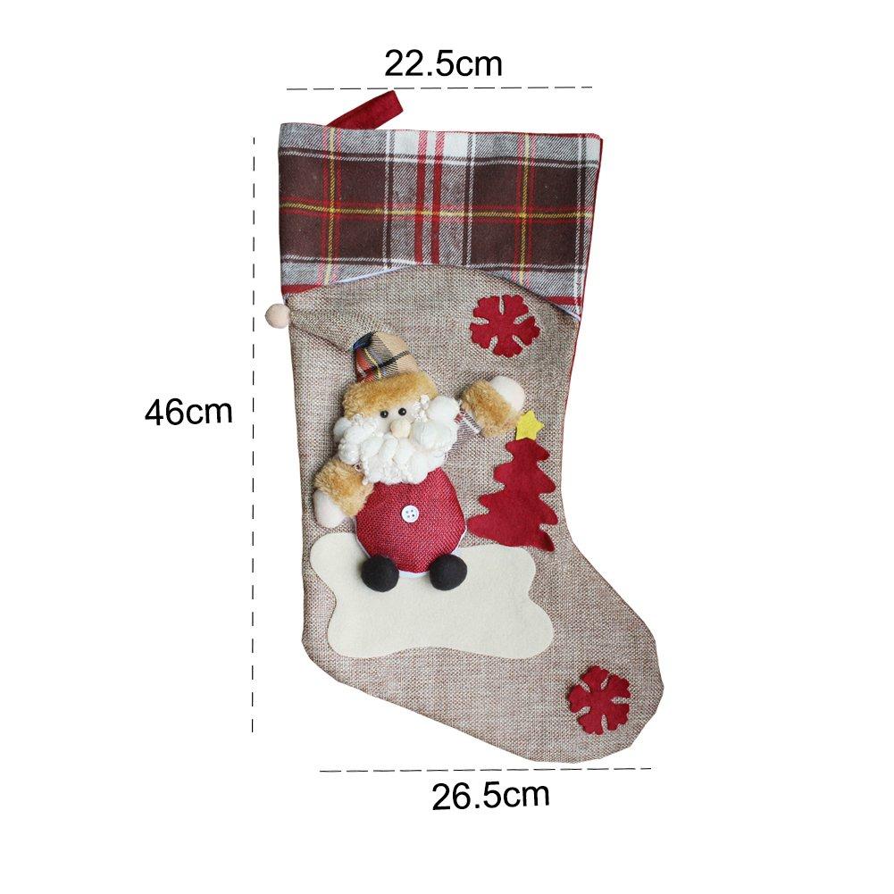 Charlemain Set 3 Pezzi Calza di Natale 48cm | 2 Cappelli di Babbo Natale e 1 Tasca per Caramelle Inclusa