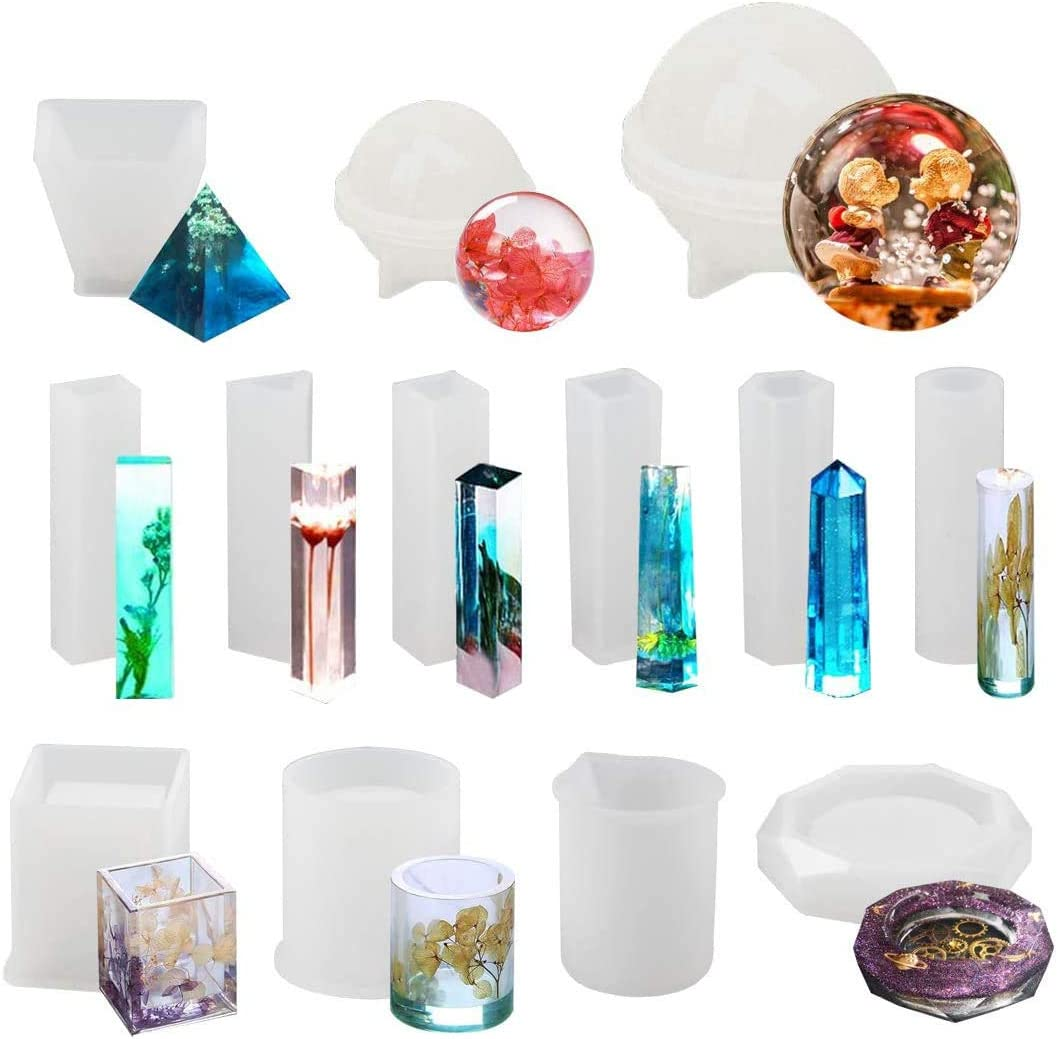 Resin Molds 13 Pcs Silicone Molds Resin Epoxy Resin Casting Art Molds for DIY Cup Pen Soap Candle Holder Ashtray Flower Pot Coaster Pendant Cylinder Cuboid Hexagon Round Molds