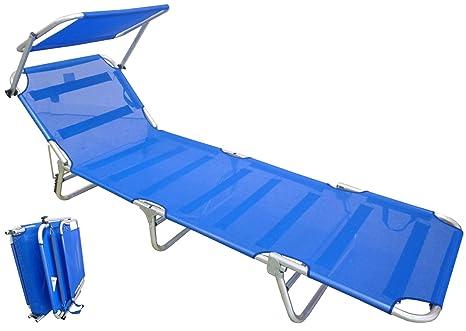 Lettini Da Spiaggia Leggeri.Lettino Brandina Prendisole Blu Alluminio Mare Campeggio Giardino Piscina