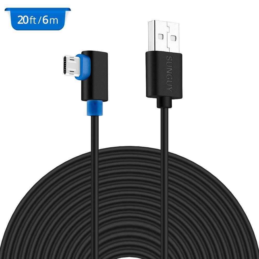 Amazon.com: 20FT USB Power Cable,SUNGUY Right Angle USB to Micro USB ...