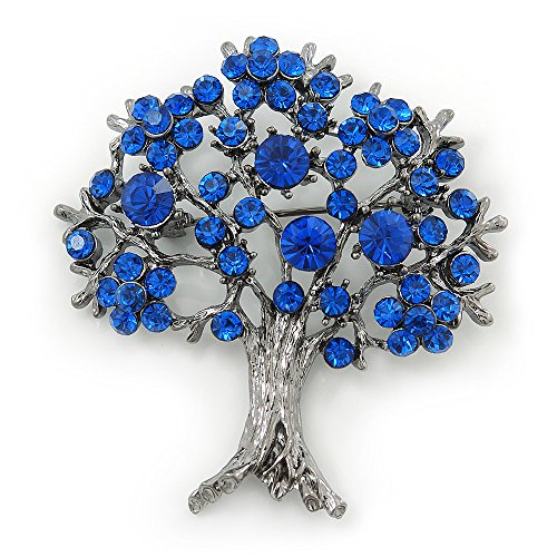 Crystal Tree Brooch - Sapphire Blue Coloured Crystal 'Tree Of Life' Brooch In Gun Metal Finish - 52mm Length