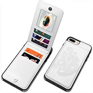 iPhone 8 Plus Case, iPhone 7 Plus Case for Women, SIZIYNan Embossed Flower PU Leather Wallet Case with Card Holder Flip Case for iPhone 6 Plus/iPhone 6s Plus/iPhone 8 Plus/iPhone 7 Plus, White