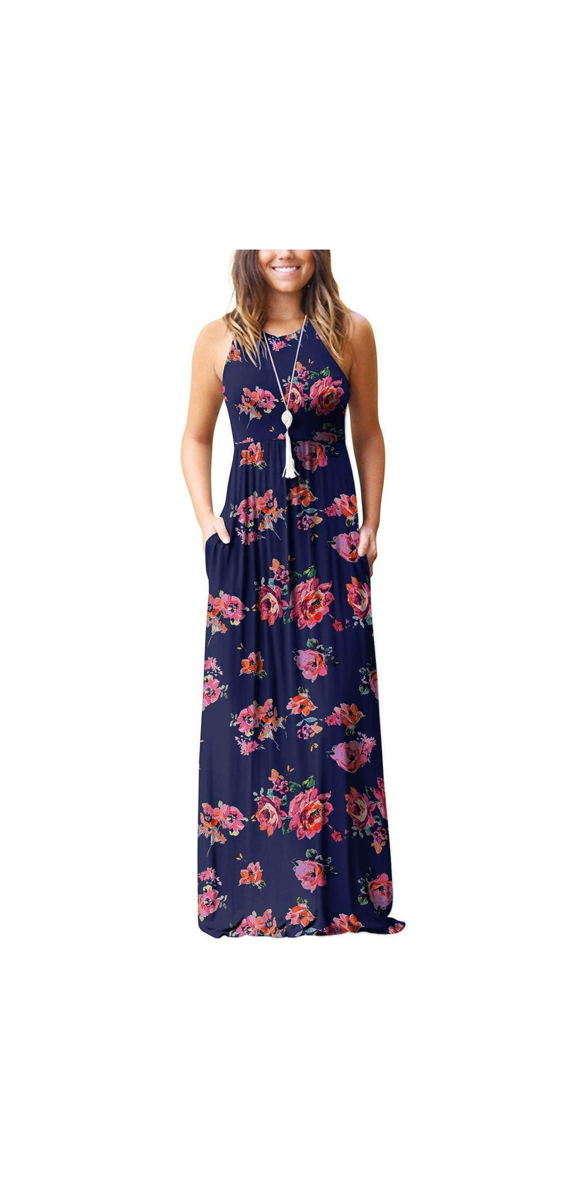 Women's Sleeveless Racerback Loose Plain Maxi Dresses