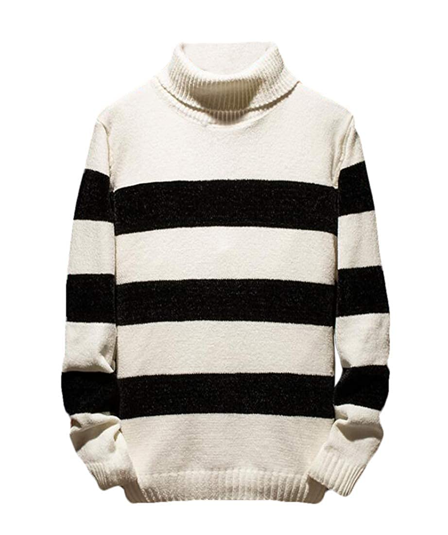 BU2H Men Slim Fit Long Sleeve Striped Turtleneck Knit Pullover Sweater