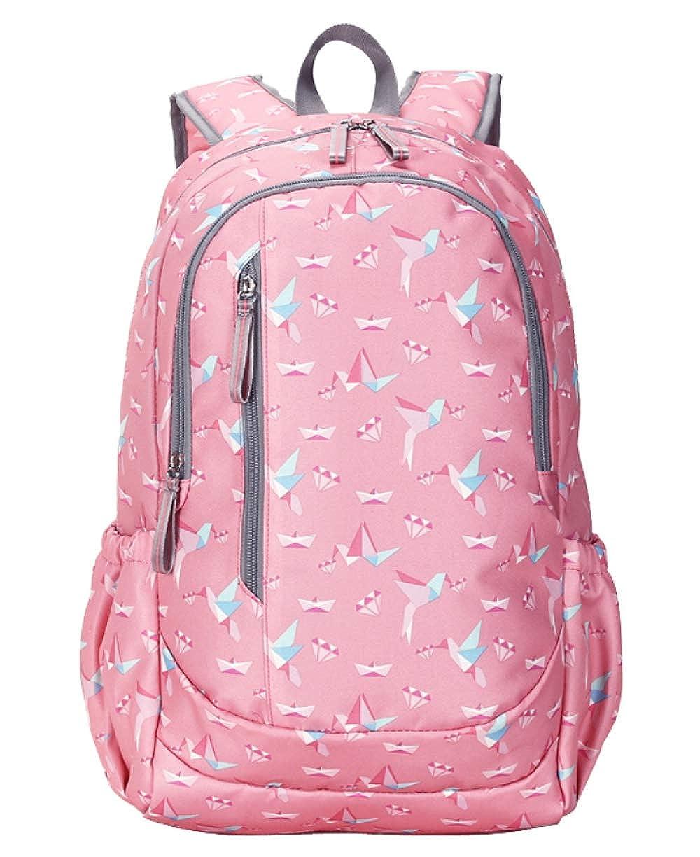 Pinkpapercrane S FLHT, Girl Backpack Large Capacity Waterproof Lightweight High School College Student Bag Primary School Campus Leisure Travel Backpack