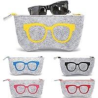 5 Piezas Funda de Fieltro Suave Cremallera Gafas, Bolsa de Gafas Blandas de Fieltro Portátil, Bolsas para Gafas de Sol…