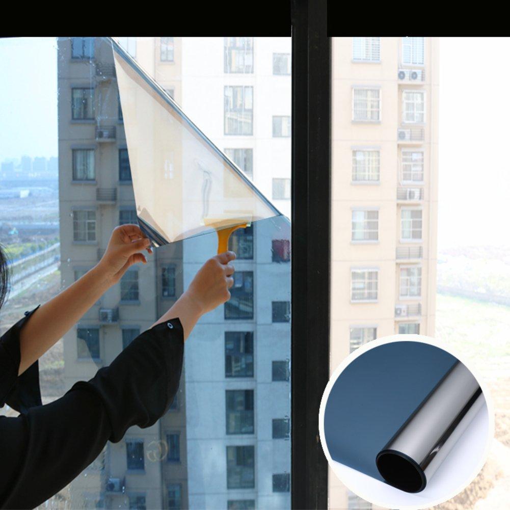 YQ WHJB Mirror Window film,Anti-uv Sun protection film,Pet Self adhesive One way Heat rejection control Explosion-proof Glass Balcony Kitchen Sun control solar films-Blue 40x100cm(16x39inch)